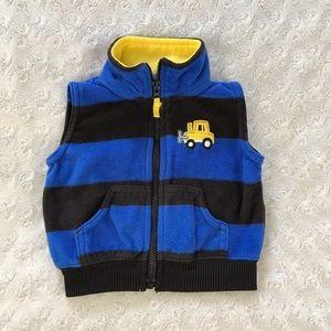 Carter's Blue Stripe Fleece Vest Bulldozer 3 Month